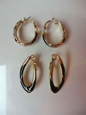 2 Pair Beautiful Earrings/Hoop Earrings, Gold Plated, Partly with Stones