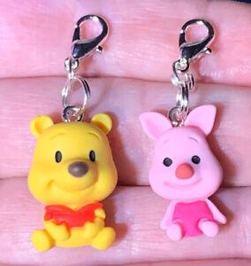 2 Pc Winnie The Pooh & Piglet Charm Zipper Pulls & Keychain Add On Clips!!