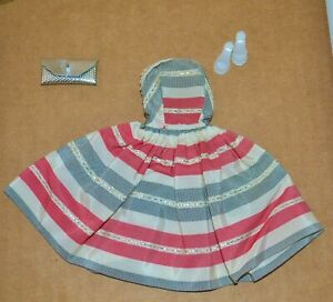 1960'S VINTAGE BARBIE CLONE FAB LU SILVER THREADS RED WHITE GRAY TAFETTA DRESS