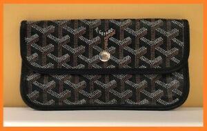 Goyard St. Louis Black/Brown/White Goyardine Leather Pouchette