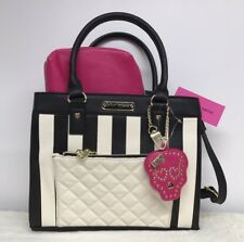 Betsey Johnson Pink Skull Accent Mirror Purse Satchel Black White Stripe Quilted