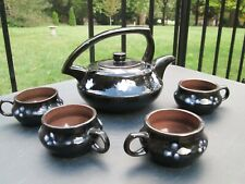 Vintage Chinese YIXING Clay Teapot Black Glaze White Flowers Cup Tea Set Marked