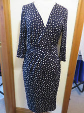 Abito attillato IT 48 - Polka dot dress pencil blue UK18