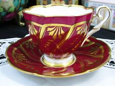 ROYAL STAFFORD RICH RED GOLD GILT SWIRLS TEA CUP AND SAUCER