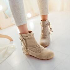 Botas Femininas sapatos Fosca Flat Mulheres Sapatos Botas de tornozelo com franjas tamanho plus