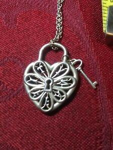 "Tiffany & Co. Filigree Lock Heart Key 16"" Necklace Pendant Sterling Silver 925"