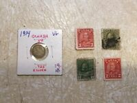 1914 Canada 5c 5 Cents Silver Coin & Stamp 2C 1914 3C 1928 2C 1930 2C 1917 Lot