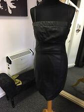 Beautiful Black Strapless Leatherette Fitted dress Size 2