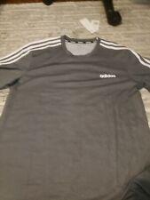 Adidas Grey Athletic Climalite Training Tshirt w/ White Logo/Sleeve Stripes