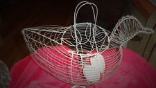 Vintage Chicken Wire Basket Large 12'' Long with 2  Wood Eggs Original