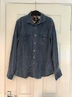 Langmeng 100% Cotton Vintage Corduroy Casual Shirt Men's Blue Size 41