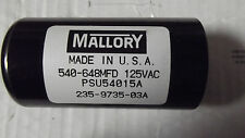 2 Mallory 540-648Mfd125Vac Capacitors Mpsu540 15A 235-9735-03A,Made In Usa.10.6