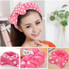 New Pink Big Bowknot Elastic Soft Dot Wash Makeup Hair Band Shower Band Headband