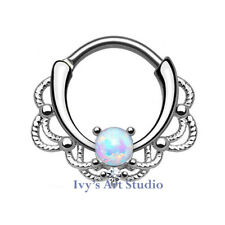 16g Surgical Steel White Opal Nose Ring Hinged Clicker Septum Daith Piercing