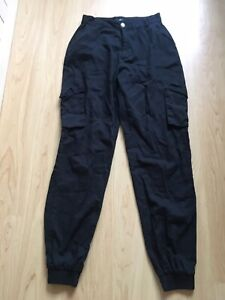 MISSGUIDED Black Cargo / Combat Trousers. Size 12 Long / Tall