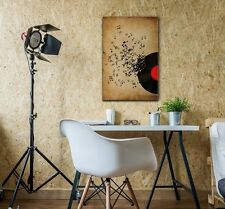 wall26 - Music Canvas Wall Art - Vinyl Record and Music Notes - 12x18 inches