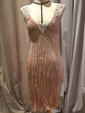 Silk Crinkle Dress With Vintage Lace Size 6 NWT