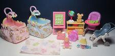2 Baby Cribs - Doll & Teddy Bear - Globe ++ Fisher Price Loving Family Dollhouse