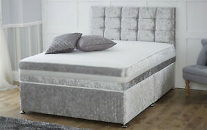 NEW CRUSHED VELVET SILVER DIVAN BASE WITH UNDER BED STORAGE DRAWERS ALL SIZES.
