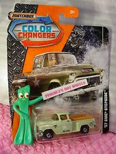Military '57 GMC STEPSIDE truck☆green; tools in bed☆2017 MATCHBOX COLOR CHANGERS