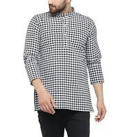 Men'S Long Sleeve Designer Indian Cotton Black Short Kurta Casual Short Kurta