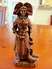 Antique Artisanat Alsacien Veritable Hand Carved Wood Woman with Ducks Figurine