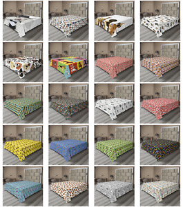 Ambesonne Dogs Flat Sheet Top Sheet Decorative Bedding 6 Sizes