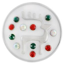 Christmas Winter Reindeer Rhinestone 20mm Snap Charm For Ginger Snaps Jewelry