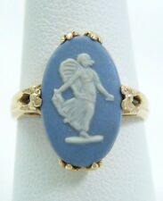 VINTAGE 14K GOLD WEDGWOOD RING FAIRY / MUSE FIGURE SZ 7