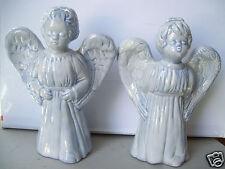 """Vintage Mbd Pair 7.5"""" Angels Hand Made Ceramic Figurine"""