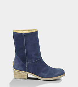 UGG AUSTRALIA CYRINDA BLUE SUEDE STACKED HEEL ANKLE BOOTS SIZE 37.5/6.5