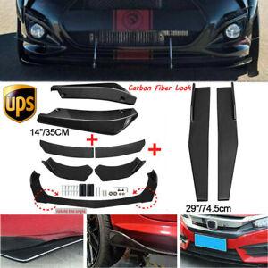 Carbon Fiber Look Side Skirt+Rear Lip+ Front Bumper Spoiler For Hyundai Veloster