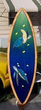 Sea Turtles Surfboard Wall Art Hand painted original nautical sea life beach