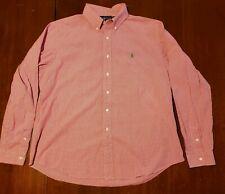 Ralph Lauren Custom Fit Pink Gingham Green Pony LS Men's Button Down Shirt XXL