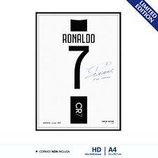 Quadro Poster A4 Stampa HD Tela Autografo CR7 Maglia Cristiano Ronaldo Juventus