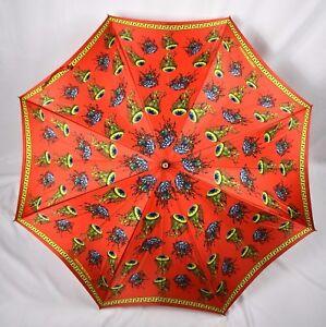 VTG GIANNI VERSACE Orange Umbrella Jellyfish Print Wood Handle SUPER RARE! Italy