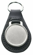 Pack of Ten Blank Round Genuine Leather Keyrings with 27mm Medallion