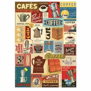 Cavallini Coffee Vintage Poster | Café Wall Art Print Craft Wrap Luxury