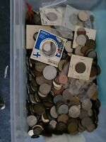 Bulk Lot of 100 Assorted World Foreign Coins- Nice Assorted Mix! Plus 1 banknote