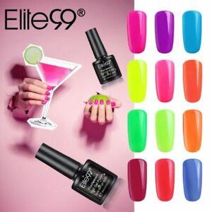 Elite99 Neon Colour Fluorescent Gel Nail Polish Top Base Lacquer Manicure UV LED