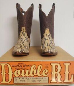 DOUBLE RL RALPH LAUREN RRL leather/python cowboy/western boots 10 D brown NIB