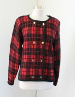 Vtg Brooks Brothers Red Black Plaid Mohair Wool Cardigan Sweater Holiday Size M