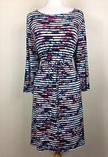 Ivanka Trump Women's Multicolor Striped Waist Tie Stretch Dress Sz Xl