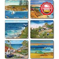 Cinnamon Surf Safari Beach Cork Backed Coasters | Set of 6pcs