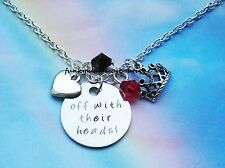OFF WITH THEIR HEADS! CHARMS NECKLACE QUEEN OF HEARTS ALICE IN WONDERLAND