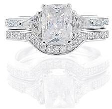 piece Engagement set 925 Sterling Silver 3.00ct Tw Emerald Cut center 2