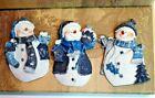 Vintage Matching Set Of 3 Christmas Snowman Refrigerator Magnets, Original Box