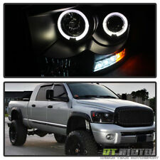 Black 2006-2008 Dodge Ram LED Halo Projector Headlights Lights Lamps Left+Right
