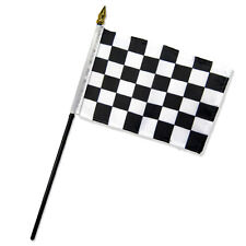 "Wholesale Lot of 6 Black and White Checkered Checker 4""x6"" Desk Table Stick Flag"