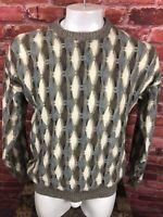 Vintage XL Le Tigre 3D Coogi Style Sweater Cosby Biggie Hip Hop Textured (C82)